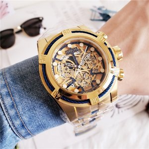 Hot Royal Oak Sports Calendar Quartz Men's Watch INVICTA Large Skeleton Dial High Quality Free Shipping