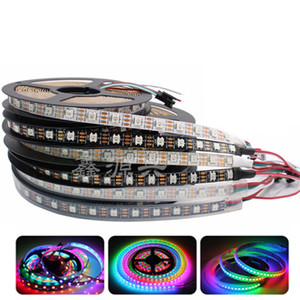 Adressables WS2812B IC Pixel RGB LED Strip Blanc / Noir PCB 30/60/144 LED Smart LED RGB Bande étanche IP65 / IP30