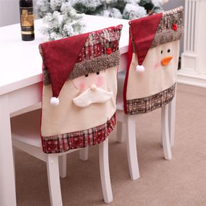 Capas de cadeira de Natal jantar a cadeira Cap Xmas Chair Back Cover Snowman chapéu de Papai Noel Slipcovers Decoração Festival Decor JK1910