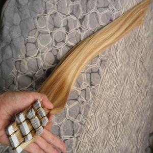 Cinta En Extensiones de Cabello Humano 80 unids Doble Dibujado Pelo Paquetes rectos Tejido En Adhesivos Pelo Sin Costuras Estilo de Salón Rubio 200g