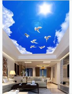 Пользовательские 3D фото потолок Зенит интерьер декоративные фрески HBeautiful голубое небо и белые облака Солнечный Белый голубь потолок Зенит фреска