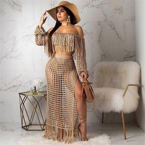 Бахромой кисточкой Летний пляж платье женщин сексуальное с плеча Maxi платье с длинным рукавом Boho вязать крючком выдалбливают партии длинное платье Y200102