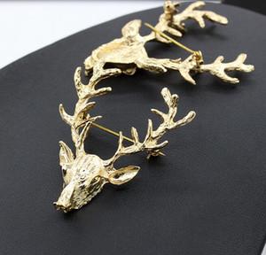 Weihnachten Brosche für Hochzeit Tier Broschen Hot Sale Unisex Weihnachts Beliebte Niedlich Gold Deer Antlers Kopfpin Schmuck DHL Weihnachtsgeschenk