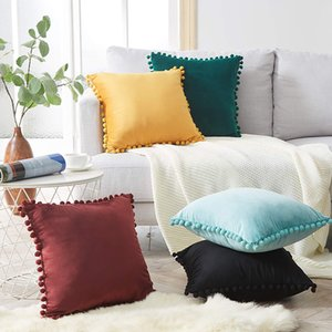 Home Simple Decorative Pillowcases Sweet Style Pom Tassel Solid Pillow Cases Cotton Linen Cover Home Party Hotel Textile 45*45cm
