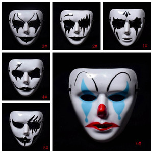 Halloween Masquerade Mask White Hip Hop Маска анфас Страшные маски Пластиковые V Маски Horror партии Маски Halloween Decoration DBC VT1038