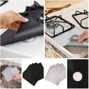 All'ingrosso di modo CALDO riutilizzabile di alluminio 4pcs / lot Cucina a gas Protezioni copertura / Liner riutilizzabile antiaderente in silicone in lavastoviglie
