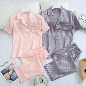 Любовник Solid Silk Пижама Set Модной Личности Мягкой Мужчины Женщина Пижамы Крытый вскользь Unisex Кардиган ночных рубашки