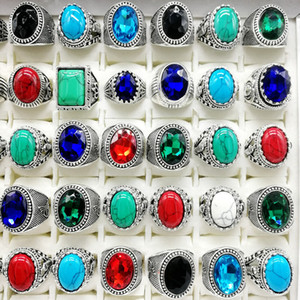Nuevo 30pcs / pack Turquoise Ring Mens Womens Fashion Jewelry Antique Silver Vintage Natural Stone Ring Party Gifts