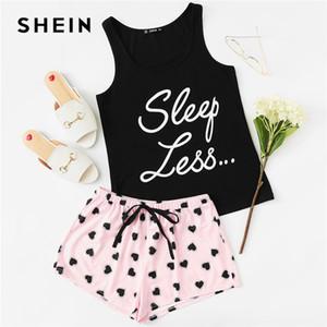 Letter Print Top Drawstring Waist Shorts Pajama Set Women Sleeveless Drawstring Preppy Nightwear Casual Sleepwear Beauty