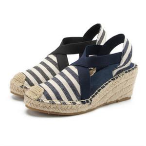 SWONCO Canvas Sandals Shoes Women Summer Shoes Wedges 2020 Toe Closed Fashion Casual Sole Sandals For Women Bandage