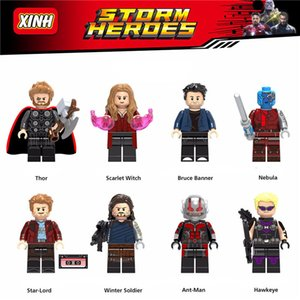 2020 all'ingrosso Heroes Minifigures Super Vendicatori Thor Scarlet Hulk stelle Lord Ant Man Haweye Nebulosa mini figure Building Blocks