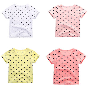 AiLe Rabbit summer children's cotton dot short sleeved girl Korean version short cotton shirt T-shirt free shipping