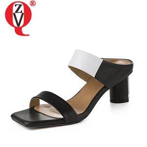 ZVQ femmes pantoufles de mode dames bout ouvert en cuir véritable chaussures talons hauts en cuir couleur blanc mélangé noir à l'intérieur des chaussures de fête