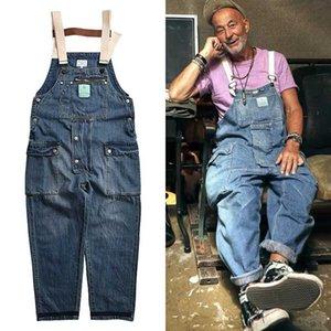 Trabalho calças cargo afligido Azul Denim Macacões dos homens da velha escola fáceis Chic Trabalhadores Multi-bolso Bib Calças Jeans Casual Dad