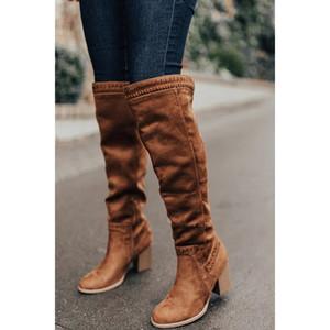 Puimentiua 2020 여성을 통해 무릎 높은 부츠 굽 힐 겨울 신발 뾰족한 발가락 섹시한 탄성 직물 여성 부츠 크기 35-43