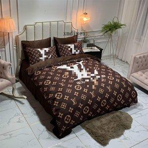 간단한 브라운 이불 커버 세트 꽃 무늬 침구 케이스 세트 패션 침대 이불 이불 세트 소프트 퀸 사이즈 이불 커버
