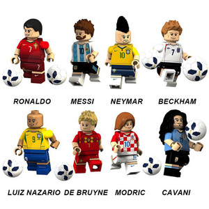 Joueur Coupe du Monde de Sport Star Mini Figurine Ronaldo Messi Neymar Beckham Luiz Nazario Modric Cavani Football Game Toy Building Blocks