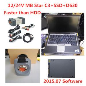 MB Star C3 Conjunto Completo Com Todos Os Cabos 12/24 V MB C3 Estrela Ferramenta de Diagnóstico MB Estrela C3 Multiplexador Testador com SSD e D630 Laptop