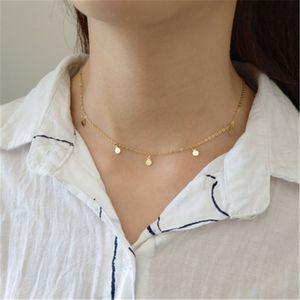 Autêntica prata esterlina 925 colar Choker colares Mulheres Simples minúsculo Rodada Círculo Pingentes Colar Collares gargantilhas Belas Jóias