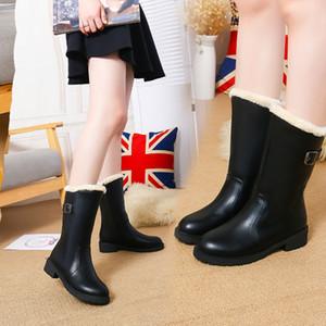 Felpa botas mujer media pantorrilla del cuero de la PU nieve de la hebilla botas de lluvia calzado de goma Zapatos Mujer Zapatos sólidos calientes botas de mujer
