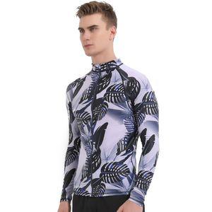 Camicie sbart Rash Guard nuotata Zipper UV Mens Long Sleeve Rash Guard Sub Muta Uomini Jacket Top Surf Windsurf Clothings