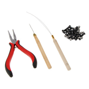 Professional Hair Extensions Pliers Hook Tool Kit with 100pcs Silicone Micro Rings Loop 3mm