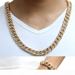 14mm Cool Mens Chain Gold Silver Hip Hop Full Rhinestones Necklace Curb Cuban Link Chain and Bracelets Set