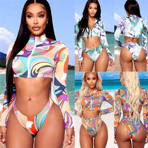 Mulheres acolchoado Push-up Bra Bikini Set dividir duas peças Swimsuit cintura alta Impresso Swimwear étnico Suit Style manga comprida de banho