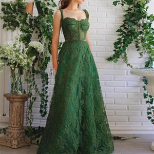 Soirée spaghetti vert dentelle Applique robes longues Une ligne personnalisée arabe musulman Robes de bal Robes De robes de cocktail Fiesta