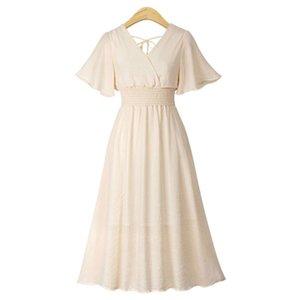 ALABIFU 2020 новый летний Vestidos плюс размер с коротким рукавом женщины шифон платье белый черный розовый абрикос спинки V-образным вырезом миди платье