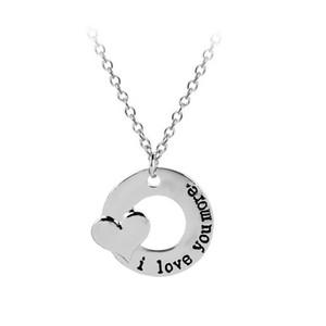 Ich liebe dich mehr Herz-Halskette Circle Anhänger Ketten