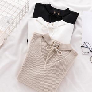 AOSSVIAO 2019 mujeres del resorte ocasional delgada del suéter del invierno suéter de punto de manga larga de encaje hasta tejer suéteres para mujer Pullover T191213