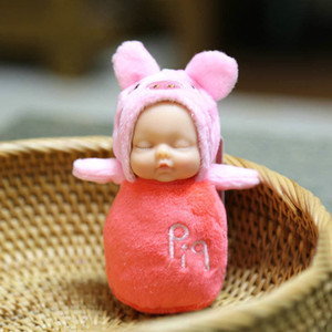 Cute Sleeping Baby Toys Key chains Doll Rex Rabbit Fur Fluffy Pom Pom Bag Decor