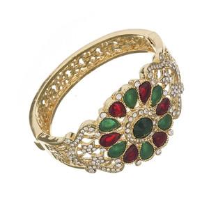 Luxury wedding jewelry set color crystal necklace for women Arab Muslim dress jewelry l six-piece set of jewelry sets