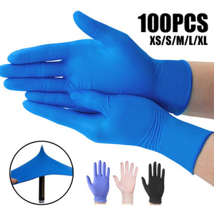 DHL Ship 100 Pcs Disposable Nitrile Gloves One-off PVC Food Gloves Eco-friendly PE Allergy Free Gloves Kitchen Garden FY4036