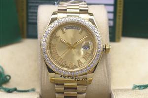 Designer montre à double calendrier journal diamant montre 41mm luxe des hommes mécanique automatique en acier inoxydable montre romaine littérale