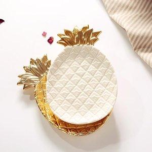 Plato de cerámica de hoja de piña de oro decorativo plato de porcelana plato de baratija de caramelo plato de almacenamiento de joyería vajilla
