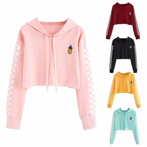 Hoodies de las mujeres ropa de mujer 2019 nuevas mujeres de la camiseta de la piña del bordado de la tela escocesa de la guinga jerséis con capucha envío de la gota