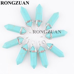 Natural Gemstone Turquoise Hexagonal Pointed Reiki Chakra Bullet shape Pendants Beads For Necklaces Earrings Jewelry Making wholesale DN3030