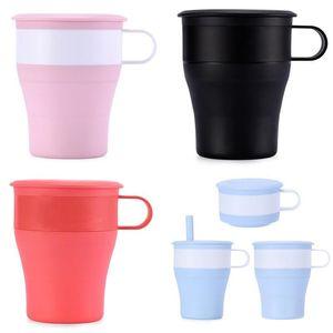 Copa plegable de silicona con la Oficina de paja del recorrido al aire portátil plegable Taza de café de la leche tazas de agua 16oz DHF209
