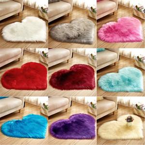 Plush do Coração Mat Sala Escritório Imitação Tapete de lã Quarto Suave Início não Slip Rugs
