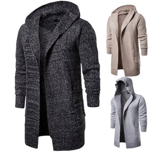 Mens Fashion Designer Jacken Mens Hoodie Cardigan Neck Langarm Oberbekleidung Winter Warm Gentlemen Long Knit Coats