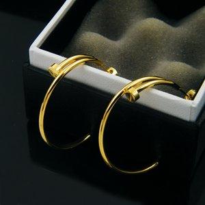 316L Titanyum Çelik Büyük Halka Bent Nail C Tipi Kadın Kulak Studs 18K Rose Gold Kaplama Altın Gümüş Çift Love Takı Hediye