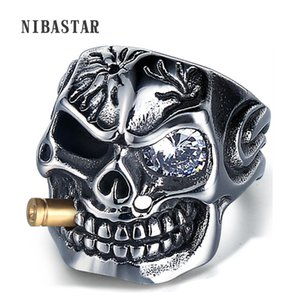 Men's Skull Biker Pirate Skeleton Rings Punk Stainless Steel With Crystal Male Retro Jewelry Decorations Accessor
