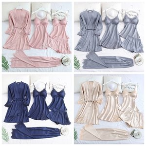 JULY'S SONG 5 Piece Pajamas Set Sexy Lace Stain Women Pajamas Faux Silk Dressing Gown Lace Summer Robe Sleepwear With Chest Pads CX200606