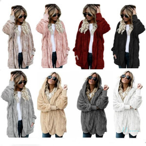 S-5XL Women Plush Sherpa Hooded Long Coat Winter Reversible Fleece Warm Outwear Pocket Jacket Outdor Fluffy Sweater Overcoat Fur Tops C92705