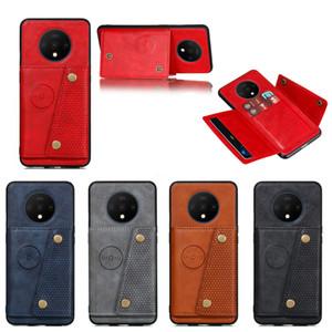 Caso PU Armadura de Couro Telefone Para OnePlus 7T Card Case Luxury Business Credit tampa do porta-aleta para Um mais 7T Coque