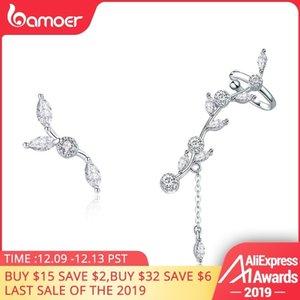 Pendientes de plata esterlina genuina 925 Plum Branch flor floreciente BAMOER para la Mujer Borrar CZ Plata V191213 SCE429 joyería