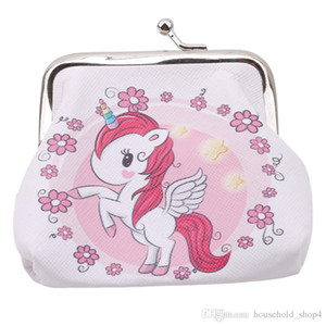 Unicorn PU Change Wallet unicorn Printed Gold Port Bag Lady's Short Change Wallet women Cosmetic Bag 6 Kinds