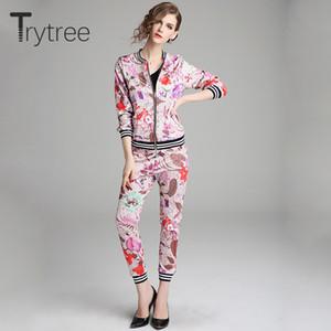 Trytree Spring Mujeres Conjunto de dos piezas con estampado sedoso Casual O-cuello Cremallera tops + pantalones Cintura elástica Traje femenino Conjunto Delgado 2 piezas